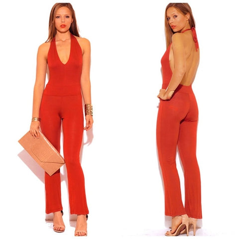 RUST ORANGE DEEP V NECK HALTER BACKLESS JUMPSUIT SZ LARGE