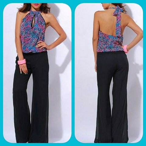 CHIFFON HALTER BACKLESS JUMPSUIT Sz M