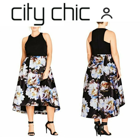 City Chic Moonlite High/low Midi Dress plus size