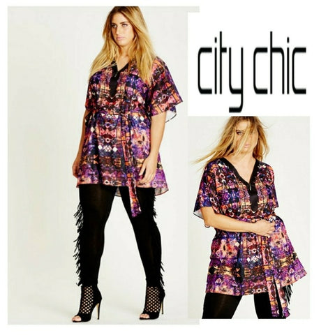 City Chic Tribal Trim Printed Tunic