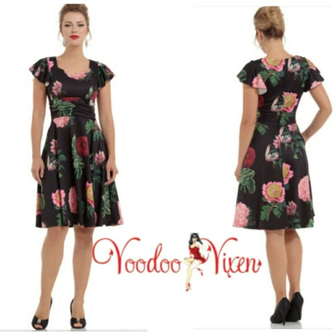 Mabel black floral flare dress by Voodoo Vixen