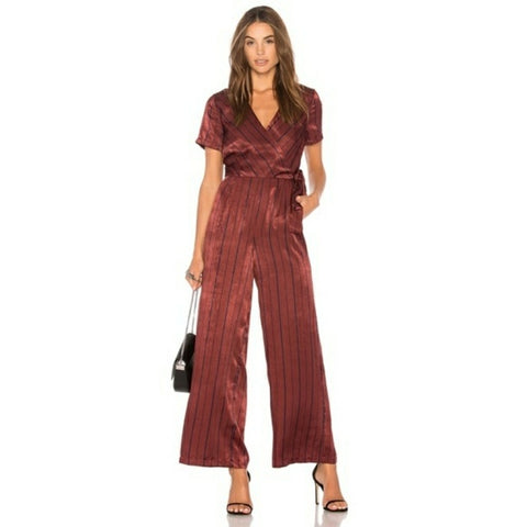 Satin like Jumpsuit - Xhilaration Burgundy stripped Sz L