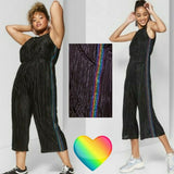 Wild Fable Women's Sleeveless Cropped Bodre Jumpsuit with Rainbow Black