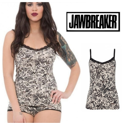Dark Tattoo Cami top beige By Jawbreaker