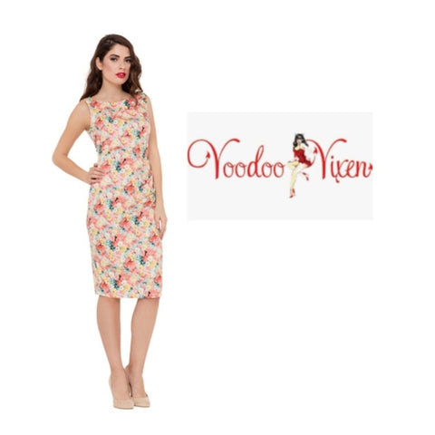 Anastasia Floral Wiggle Dress from Voodoo Vixen