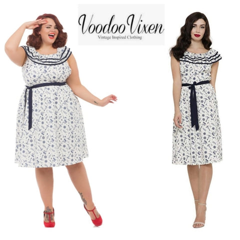 Magdalena At Sea Flare Dress⚓ By Voodoo Vixen