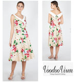 Lillian Floral Flare Dress Voodoo Vixen