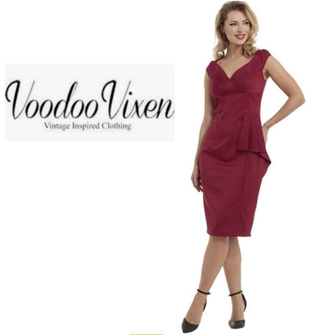 Khloe Pleated Bust Solid Pencil Dress by Voodoo Vixen