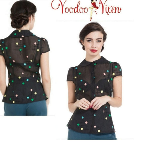 Dotty Semi Sheer Button Down By Voodoo Vixen