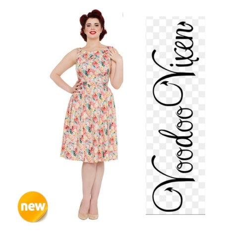 Pollyanna 50's Spring Flower Belted Dress By Voodoo Vixen