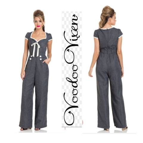 Leanne Grey Striped Jumpsuit by Voodoo Vixen