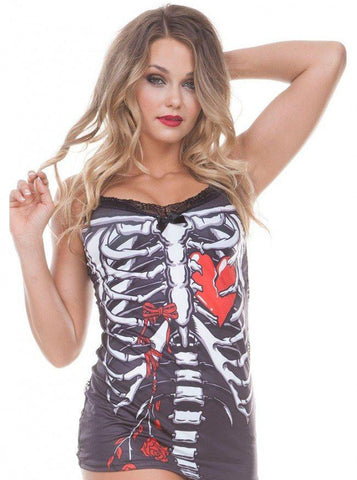 "WOMEN'S ""SKELETON HEART"" CAMI BY JAWBREAKER (BLACK)"