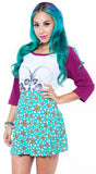 IRON FIST LADIES TRIPPING DAISIES SKATER SKIRT IN TURQUOISE