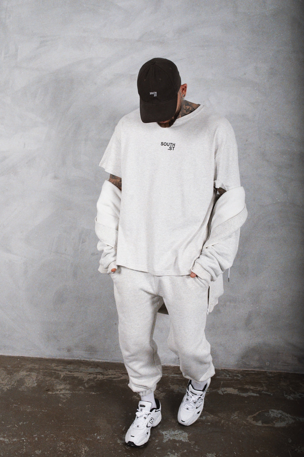 """CONCRETE"" SWEATPANTS - Marl grey"