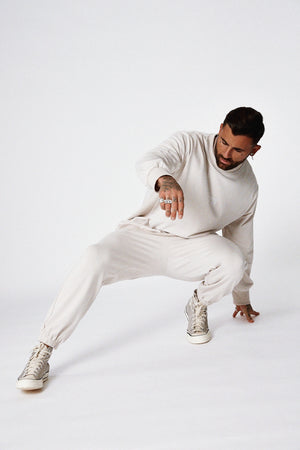 """CULTURE"" SWEATPANTS - Bone white"