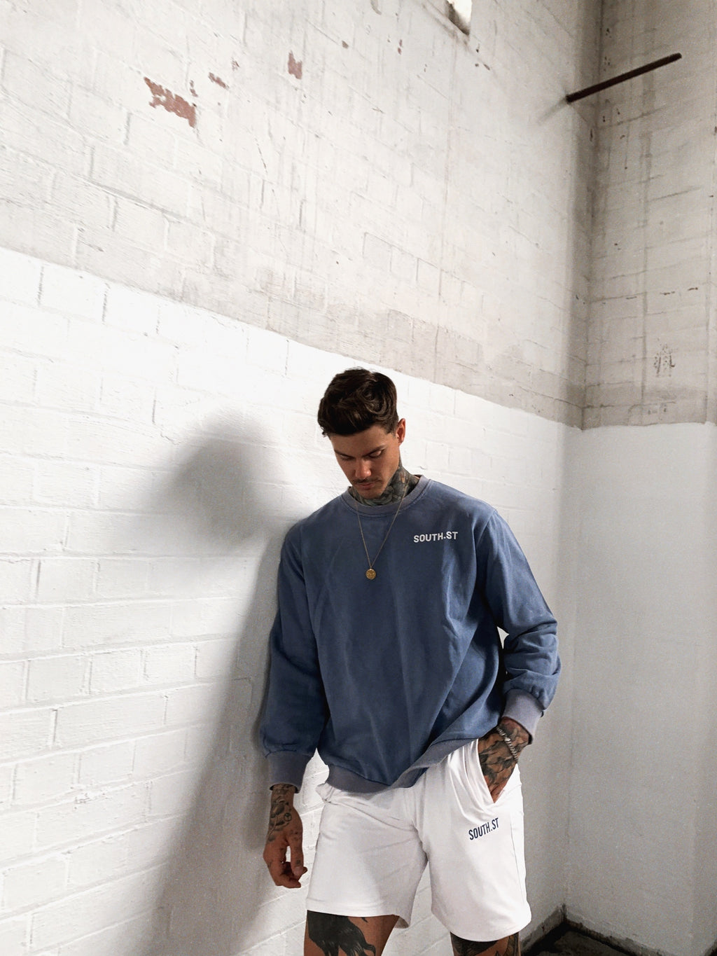 """WEST"" SWEATSHIRT - Blue stone wash"