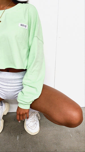 """ACADEMY"" CROPPED SWEATER - Green"