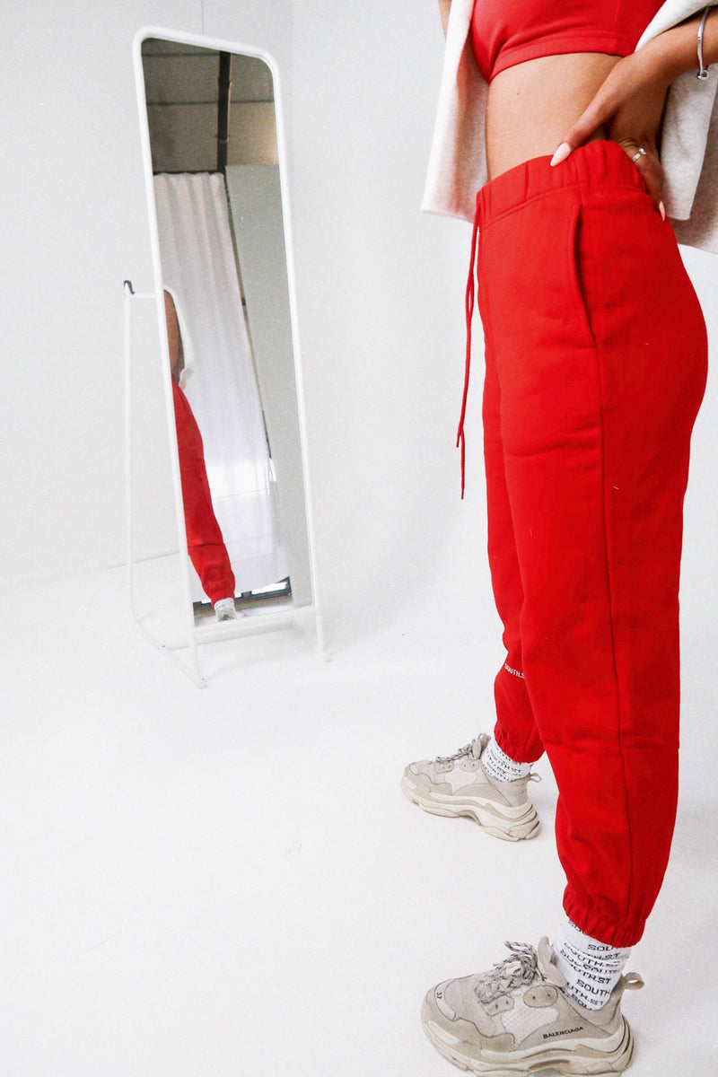 """NO PLANS"" SWEATPANTS - Red"