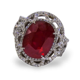 Dena Kemp Oval Ruby and Diamond Ring
