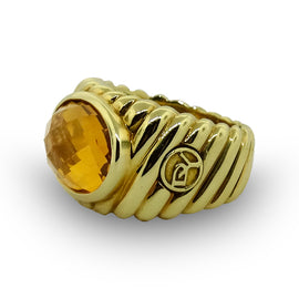 David Yurman Ring Faceted Citrine with Twisted Rope Design