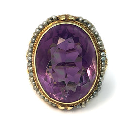 Oval Amethyst with Seed Pearl Halo Ring