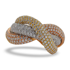 Tricolor Pavering Diamond Ring