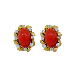 18KT Y/G Cabochon Coral Earrings