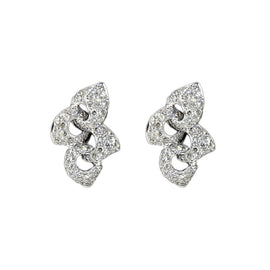 18KT W/G Pave Diamond Leaf Earrings