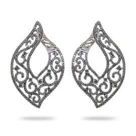 Ornate W/G Diamond Earrings
