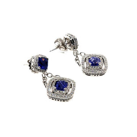 18KT W/G Iolite and Diamond Earrings