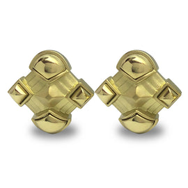 18kt Yellow Gold Geometric Design Earrings