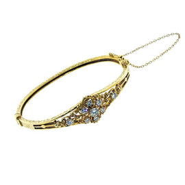 14KT Y/G Floral Motif Diamond Bangle Bracelet