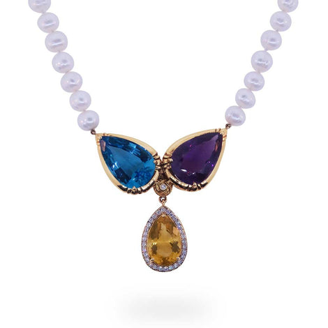 Multigem Pearl Necklace