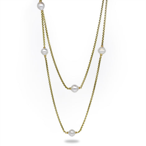 Y/G Pearl Station Necklace