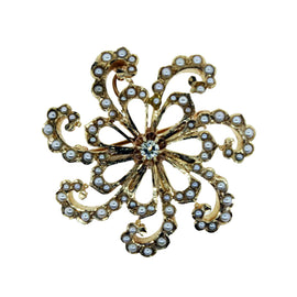 14KT Y/G Pearl Flower Pendent
