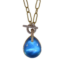 18KT Y/G Cabochon Blue Topaz Necklace