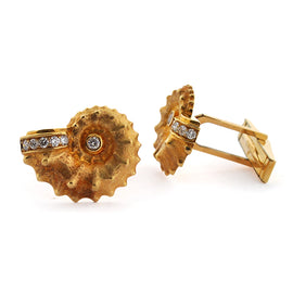 Gold Shell with Diamond Cuff Links