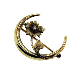 Crescent Flower Brooch