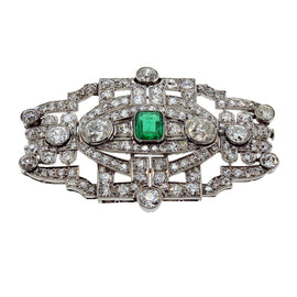 Platinum Diamond & Emerald Art Deco Brooch
