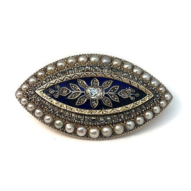 Aristocratic Diamond and Pearl Brooch