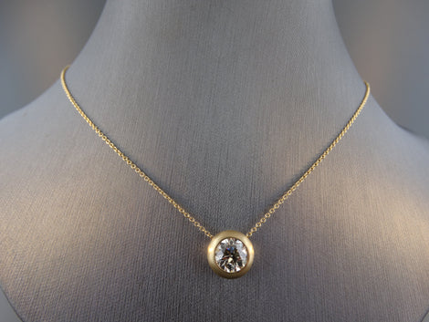 1.52ctw Round Brilliant Bezel Set Diamond Pendant