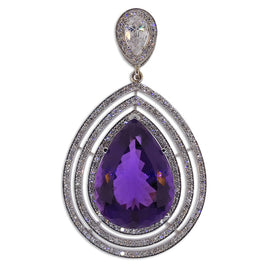 White Gold Natural Amethyst and Diamond Pendant