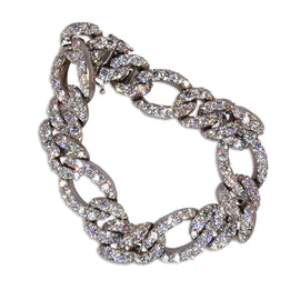 Dena Kemp White Gold Link Diamond Bracelet