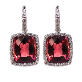 Rubelite Earrings with Diamond Halo