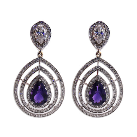 White Gold Natural Amethyst and Diamond Earrings