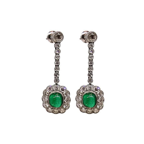 Vintage Platinum Cabochon Emerald & Diamond Earrings