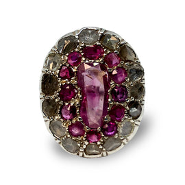 Natural Burma Rubies and Diamonds Ring