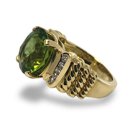 Peridot and Diamonds Ring