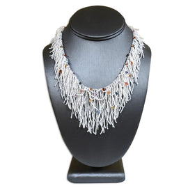 Japanese Keshi Fringe Necklace with Multi Colored Sapphires