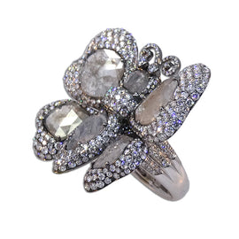 Dena Kemp White Gold Butterfly Ring